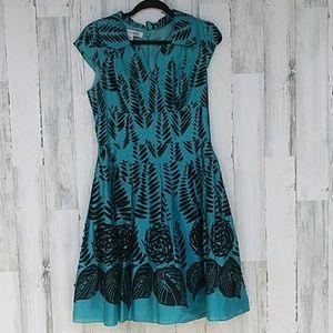 Kay Unger Leaf Print Dress Dress